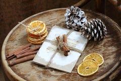 Aún-vida con los conos, el canela y las naranjas secadas Fotografía de archivo libre de regalías