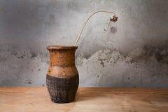 Aún-vida con un jarro viejo y una planta seca en el vector Foto de archivo