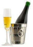 Aún-vida con un vidrio del vino y de una botella Imagen de archivo