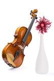 Aún-vida con un violín, una flor y un florero de las lanas blancas Foto de archivo