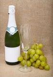 Aún-vida de la botella de vino espumoso, uvas Imágenes de archivo libres de regalías