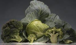 Aún-vida de la col y del bróculi Fotografía de archivo