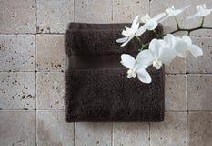 Aún-vida de la frescura del zen con la toalla del algodón para el espacio de la copia Fotografía de archivo