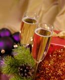 Aún-vida de la Navidad con el champaigne Imagen de archivo