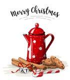 Aún-vida de la Navidad, pote rojo del té, galletas marrones, palillos de canela y cascabeles en el fondo blanco, ejemplo ilustración del vector