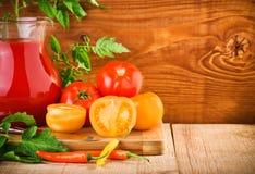 Aún-vida de la nutrición de los tomates Imagen de archivo