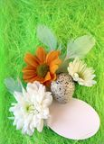 Aún-vida de Pascua con las flores, huevos, plumas en una fibra verde del sisal Foto de archivo libre de regalías