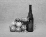 Aún-vida de una botella de vino y de fruta Foto de archivo libre de regalías
