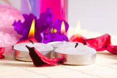 Aún-vida del balneario - velas y pétalos Fotografía de archivo libre de regalías