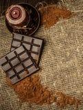 Aún-vida del cacao y del chocolate Imágenes de archivo libres de regalías