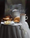 Aún-vida del café, del sg de la tostada, del queso y de la mantequilla Fotos de archivo