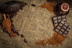 Aún-vida del café y del cacao Fotografía de archivo libre de regalías