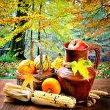 Aún-vida del otoño con las calabazas y el maíz Fotografía de archivo