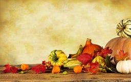 Aún-vida del otoño con las calabazas y las hojas Fotos de archivo