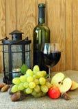 Aún-vida del otoño con un vidrio de vino Fotografía de archivo