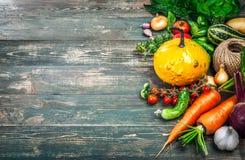 Aún-vida del otoño de las verduras frescas de la cosecha en viejo Fotos de archivo libres de regalías