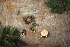Aún-vida del ` s del Año Nuevo - postal en el fondo del despido Imagen de archivo libre de regalías