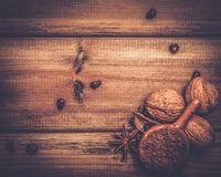 Aún-vida del tema del café y del cacao Fotografía de archivo