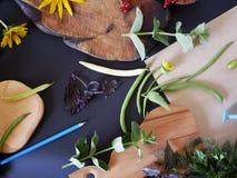 Aún-vida del verano del verdor, verduras, visión superior Imagen de archivo libre de regalías