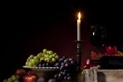 Aún-vida del vino y de la fruta Fotos de archivo libres de regalías