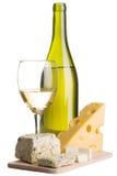 Aún-vida del vino y del queso Fotos de archivo