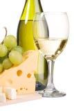 Aún-vida del vino y del queso Foto de archivo