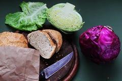 Aún-vida Foto de la comida en el backround de madera Imagen de archivo libre de regalías