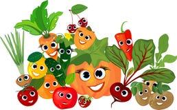 Aún vida grande con las verduras de la cosecha del otoño con las caras sonrientes stock de ilustración