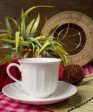 Aún vida hermosa con el cookware y la flor Fotos de archivo libres de regalías