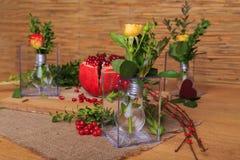 Aún vida hermosa de la fruta y de las lámparas Imágenes de archivo libres de regalías