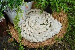 Aún vida hermosa en el jardín Cuerda del yute, estera, plantas en el pote Imagenes de archivo
