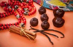 Aún vida hermosa: trufas de chocolate, canela, vainilla y Fotografía de archivo libre de regalías