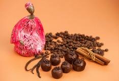Aún vida hermosa: trufas de chocolate, canela, vainilla y Imagen de archivo libre de regalías