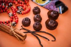 Aún vida hermosa: trufas de chocolate, canela, vainilla y Fotos de archivo libres de regalías