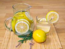 Aún-vida, jarro y vidrio con limonada imágenes de archivo libres de regalías