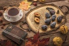 Aún vida otoñal con el regalo de la naturaleza, el cuaderno del vintage y el té con la película filtran efecto Foto de archivo