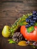 Aún vida otoñal con la calabaza y las uvas en el tablero de madera Imagen de archivo libre de regalías