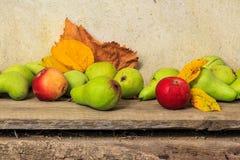 Aún vida otoñal con la fruta y las hojas en una base de madera Fotografía de archivo
