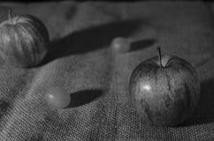 Aún vida rústica con la fruta y el foco bajo Imagen de archivo libre de regalías