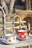 Aún vida rústica con tazas de sombrero del té y de paja Fotografía de archivo libre de regalías