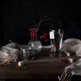 Aún vida rústica viburnum de la rama, té en un círculo grande y tarros en una tabla de madera Fondo negro Imágenes de archivo libres de regalías