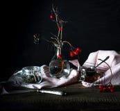 Aún vida rústica viburnum de la rama, té en un círculo grande y tarros en una tabla de madera Fondo negro Fotografía de archivo