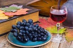 Aún vida retra con el vino rojo, el libro, el reloj y la uva Imágenes de archivo libres de regalías