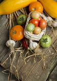Aún vida rural con las verduras Foto de archivo