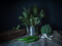 Aún-vida verde en un estilo rústico Imagen de archivo libre de regalías
