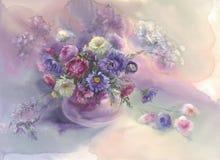 Aún-vida violeta de la acuarela de los asteres Fotos de archivo libres de regalías