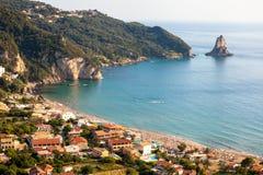 Ażio Gordios egzota plaża w Corfu wyspie, Grecja Obraz Royalty Free