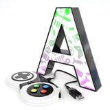 ` A与电子游戏控制器的` 3d信件 库存图片