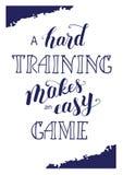 ` A坚硬训练做一张容易的比赛`体育字法海报 免版税库存照片
