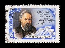 a纵向 赫尔岑1812-1870,政治作家, 150th诞生周年,大约1962年 库存照片